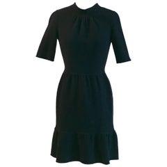 Oscar de la Renta Black Wool Dress with Back Slit and Tie