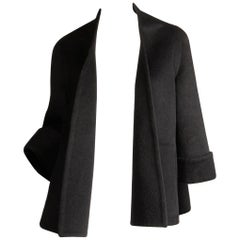 1960s Pauline Trigere Vintage Black Cashmere + Wool Swing Jacket or Cropped Coat