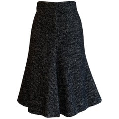 Alexander McQueen 2007 Black White and Grey Flared  Wool Skirt