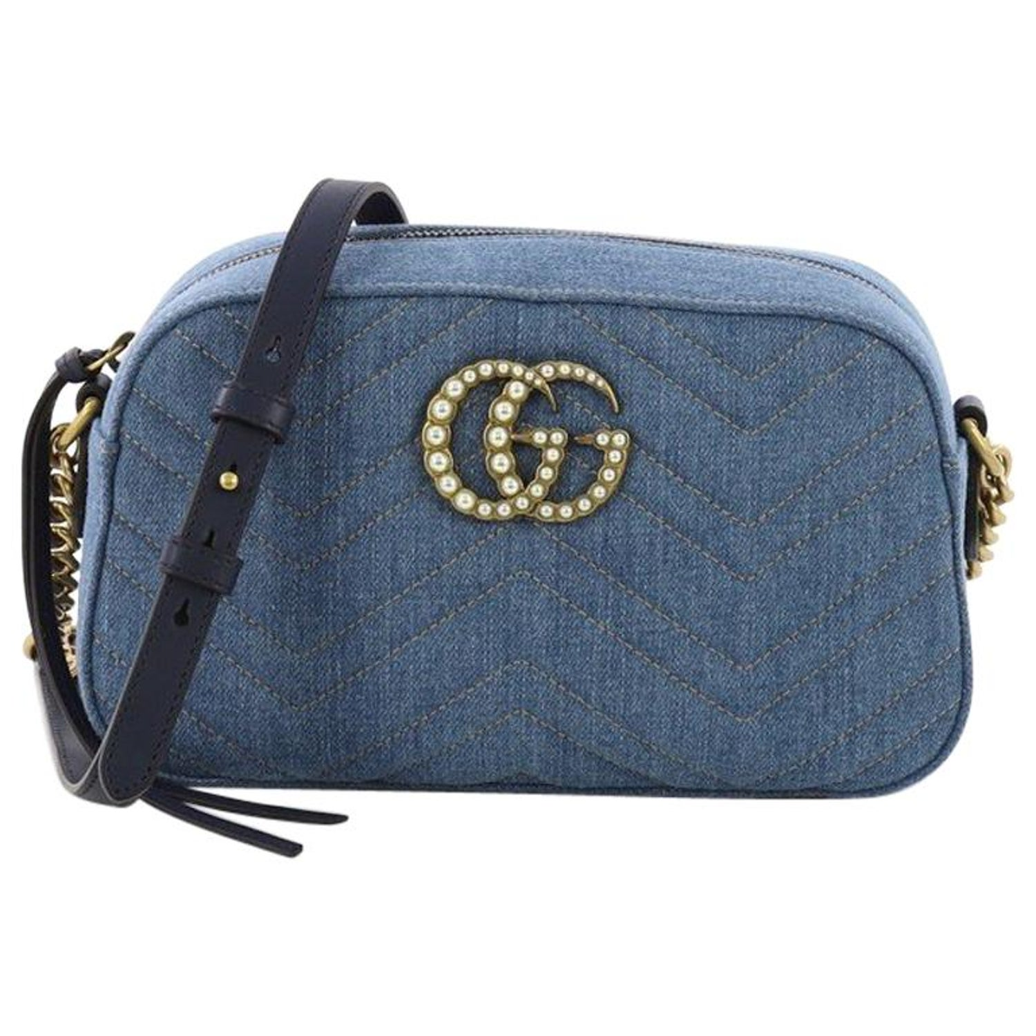 75232b12677ba8 Gucci Pearly GG Marmont Shoulder Bag Matelasse Denim Small at 1stdibs