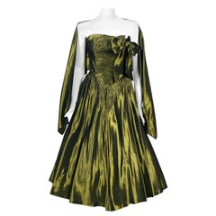1950's Iridescent Olive-Green Embroidered Taffeta Strapless Bow Dress & Shawl