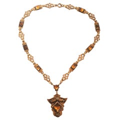 Art Deco Amber Vauxhall Glass Necklace