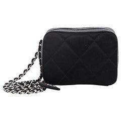 Chanel Vintage Charm Camera Bag Quilted Satin Small