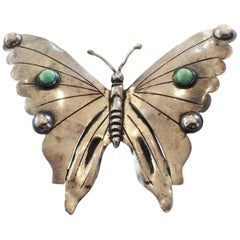 Art Deco Mexican Silver Butterfly brooch pin with Turquoise