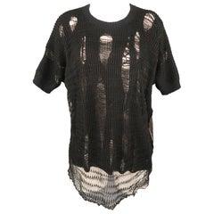 JUNYA WATANABE Size M Black Distressed Knit Short Sleeve Pullover