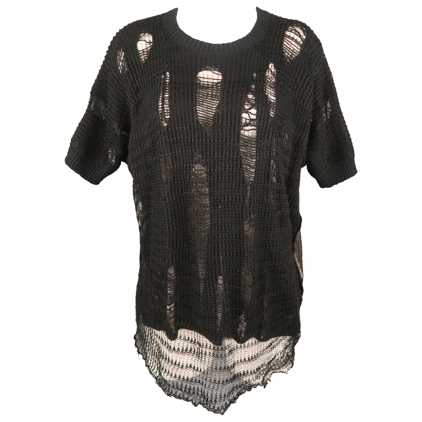 JUNYA WATANABE Size M Black Distressed Knit Short Sleeve Pullover