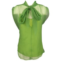 MARC JACOBS Size 10 Green Textured Chiffon Bow Blouse