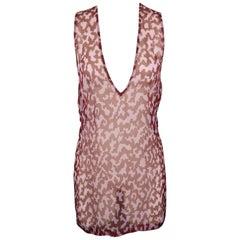 DRIES VAN NOTEN Size 6 Purple & Burgundy Printed Silk Chiffon Top