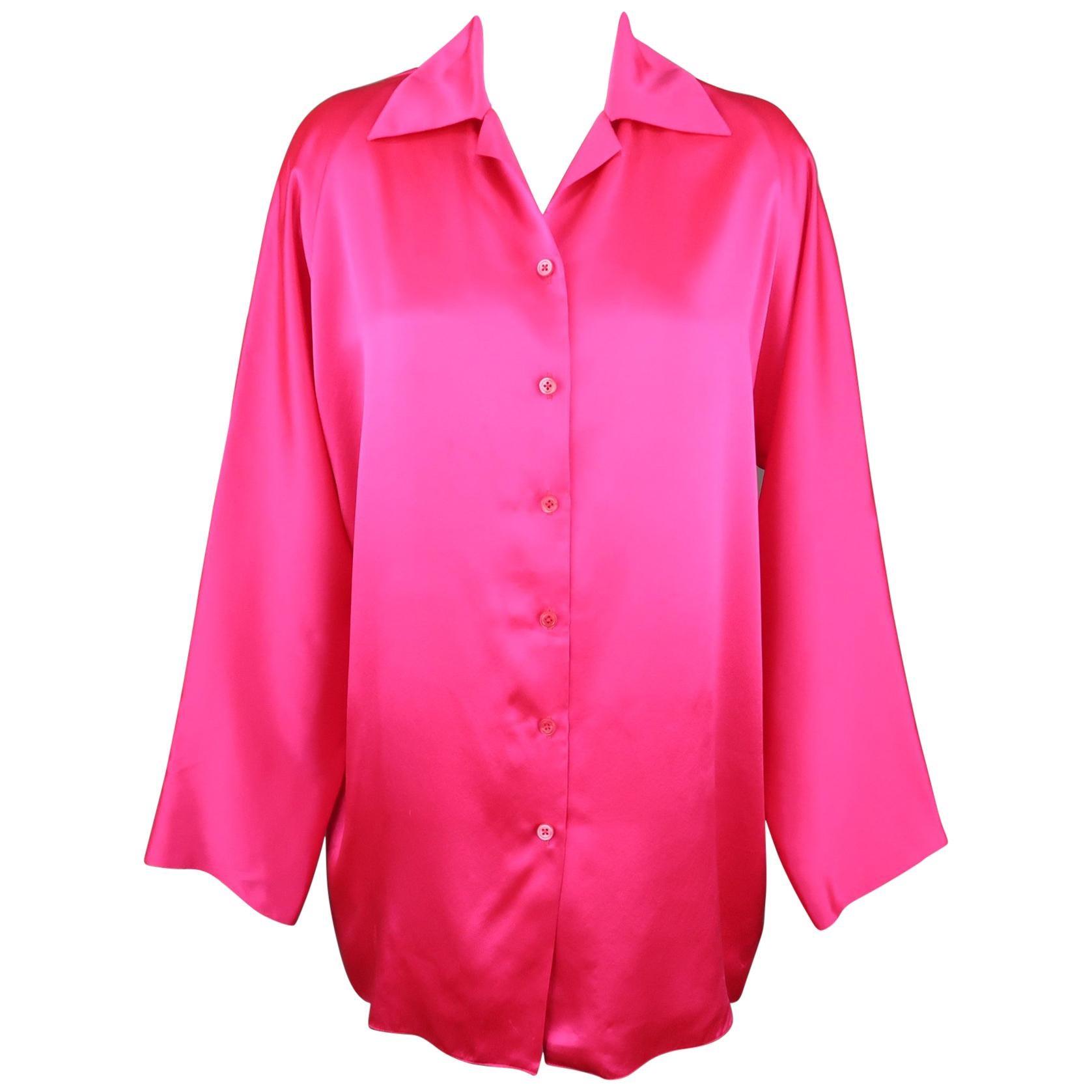 SHAMASK Size S Fuchsia Pink Silk Oversized Collared Blouse