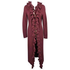 RALPH LAUREN Size L Burgundy Cashmere Ruffled Collar Open Long Cardigan Sweater