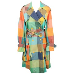 MARC by MARC JACOBS Size M Multi-Color Plaid Cotton Double Breasted Trench Coat