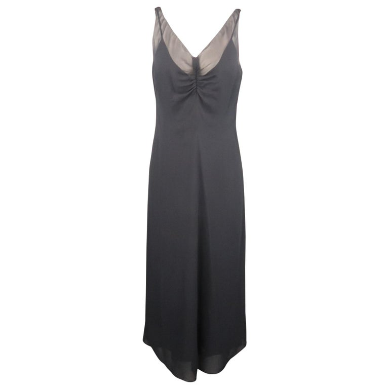 ARMAND VENTILO Size 4 Navy Silk Chiffon V Neck Sleeveless Maxi Dress For Sale