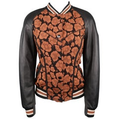 COACH Size 4 Brown & Black Jacquard Leather Sleeve Varsity Bomber Jacket