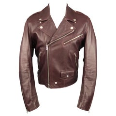 Men's BURBERRY BRIT L Purple Leather ROXTON Biker Jacket