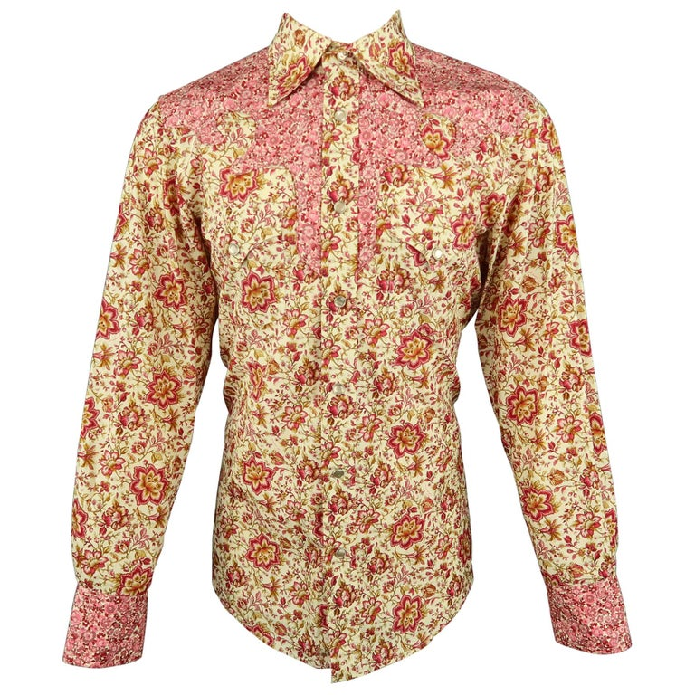 50bf3a2e Men's GUCCI by TOM FORD L Beige & Pink Floral Western Pearl Snaps SS 2004  Shirt