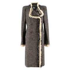 Alexander McQueen Long Wool-blend Tweed Coat US 10