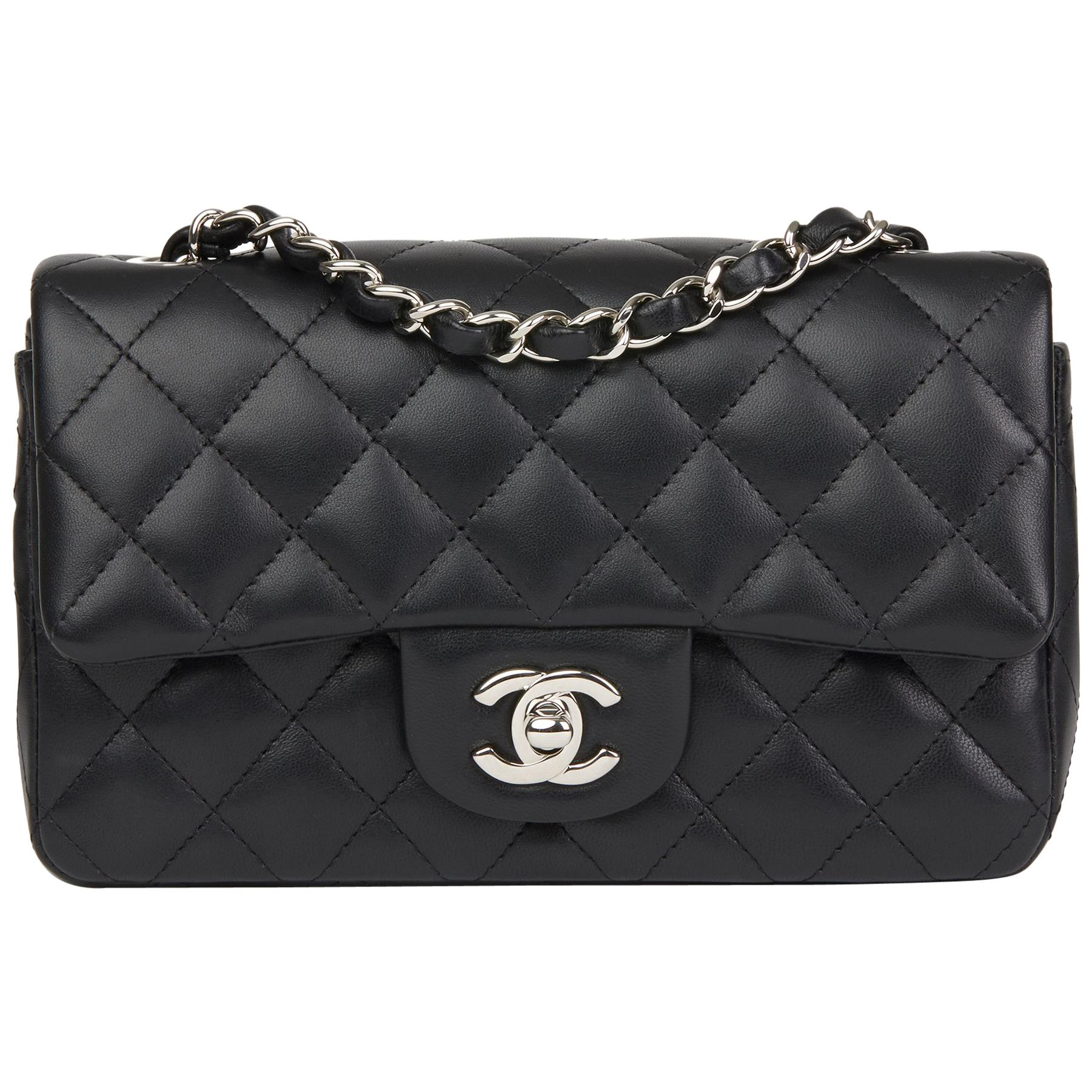 9b5b14f22aea 2019 Chanel Black Quilted Lambskin Rectangular Mini Flap Bag at 1stdibs