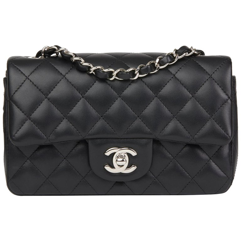 2aa028158c09 2019 Chanel Black Quilted Lambskin Rectangular Mini Flap Bag at 1stdibs