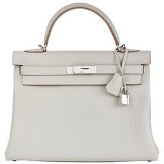 2018 Hermès Gris Perle Clemence Leather Kelly 32cm Retourne