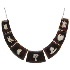 Art Deco necklace tortoiseshell with silver inlays