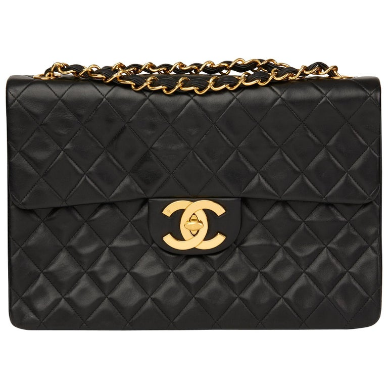 6bdcd4102e6f 1994 Chanel Black Quilted Lambskin Vintage Maxi Jumbo XL Flap Bag For Sale