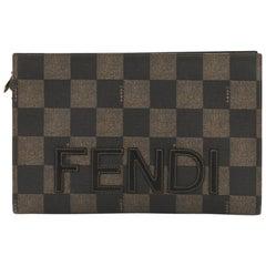 Fendi Vintage Logo Clutch Check Print Embroidered Coated Canvas Medium