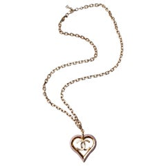 CHANEL 2013 Chain necklace with pink heart pendant and CC logo