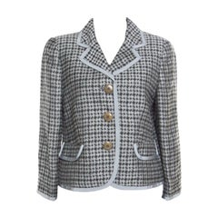Armani Collezioni Houndstooth Patterned Jacquard Three Button Blazer L
