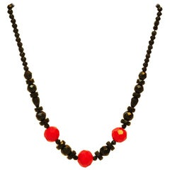 Bakelite necklace with facetted beads, gradient, Art Deco