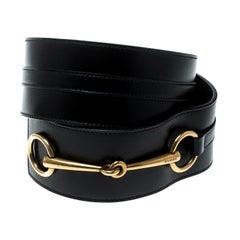 Gucci Black Leather Horsebit Waist Belt Size 95 cm