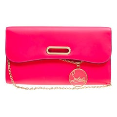 Christian Louboutin Fluorescent Pink Leather Riviera Clutch