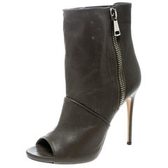Casadei Olive Perforated Leather Double Zipper Peep Toe Ankle Boots Size 38.5