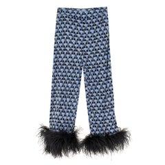 Prada Feather-Trimmed Printed Crepe De Chine Pants US 0-2