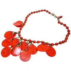 Red bakelite plate necklace
