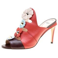 Fendi Multicolor Leather Floral Applique Leather Mules Sandals 39