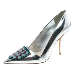 50132f3808 Dior Silver Leather and Sequin Pointed Toe Pumps Size 37