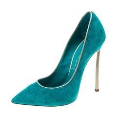 Casadei Aqua Green Suede Pointed Toe Pumps Size 37