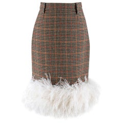 Prada Feather-trimmed Houndstooth Wool Skirt US 0-2
