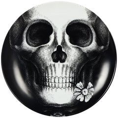Fornasetti Black/White China Skull Plate