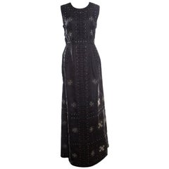 Valentino Black Silk Embellished Sleeveless Gown L