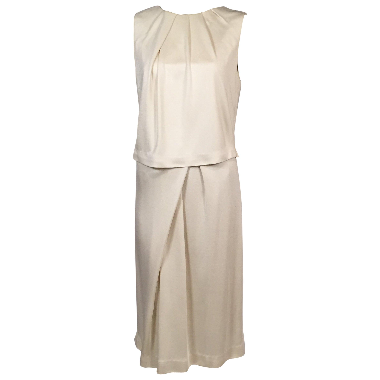 Carolina Herrera Ivory Silk Jersey Dress