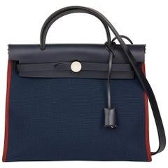Hermès Bleu Marine, Rouge H Toile Militaire & Vache Hunter Leather Herbag Zip 31