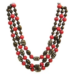 Three-row chain made of wood, plastic and glass with original clasp