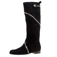 Alexander McQueen Black Suede Spiral Zip Knee Length Boots Size 41