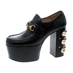 Gucci Black Leather Faux Pearl Embellished Vegas Platform Loafers Pumps Size 38