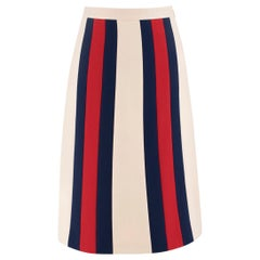 Gucci Striped wool and silk-blend crepe skirt US 4