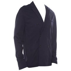Emporio Armani Navy Blue Jersey Double Breasted Blazer XXL