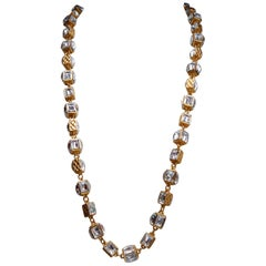 CHANEL 1980s Gilted metal and cubed rhinestones necklace
