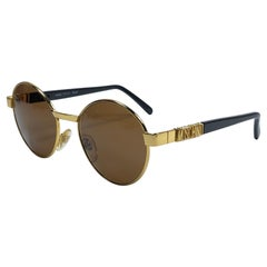Mint Vintage Moschino Medium Round Gold 1990 Sunglasses Made in Italy