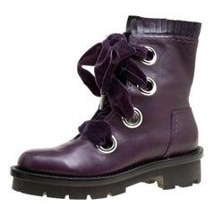 Alexander McQueen Purple Leather Pleat Trim Platform Biker Boots Size 40